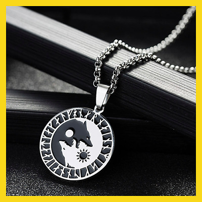 AU13.92 • Buy  Yin Yang Wolf Sun Moon 316L Stainless Steel Norse [Vikings Pendant Necklace]