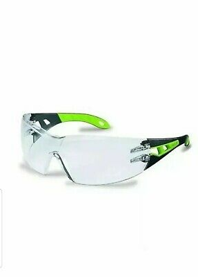 Safety Glasses Clear Anti Fog Scratch Resistant Lenses UV PROTECTION BLACK/GREEN • 10.99£
