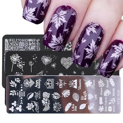 $1.99 • Buy Nail Stamping Plates Flower Leaf Image Stencils Polish Template Nail Art Stamp