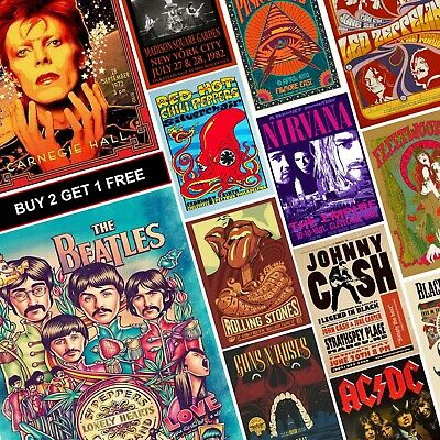 $3.43 • Buy VINTAGE RARE BAND ROCK Posters A4 A3 Concert Tour Music ACDC NIRVANA BEATLES