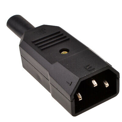 IEC 3 Pin Male Rewirable C14 Plug 250 Volts 5A 5 Amps For 0.75mm2 Cable • 2.06£