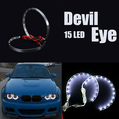 $4.99 • Buy Pair White LED Lights Devil Eyes Demon Eye Auto Headlight Projector Lens Rings