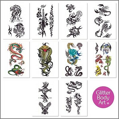 Boys Temporary Tattoos - Sticker Tattoos - Stick On Tattoos - Party Favour Pack • 1.99£