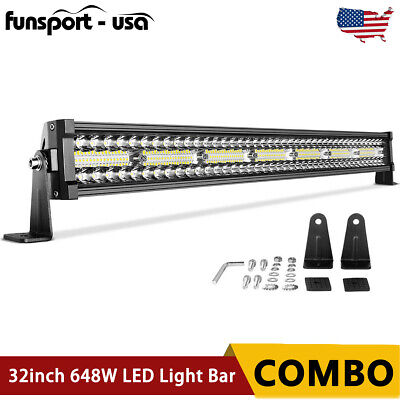 $40.99 • Buy 32INCH Curved LED LIGHT BAR 648W Tri Row Spot Flood Combo Offroad Truck SUV 30''