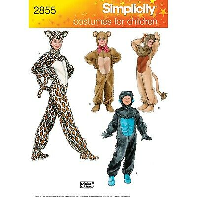 Simplicity Sewing Patterns 2855 Children's Unisex Animal Costumes • 10.10£