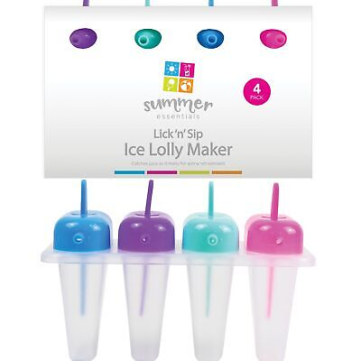 4 X Ice Lolly Makers Tray With Sip Mould Yogurt Yoghurt Ice Cream Frozen Jelly • 4.49£