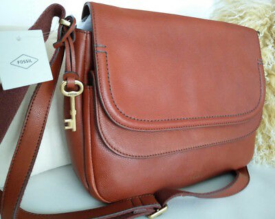 0d9da79847 Fossil Peyton Leather Cognac Double Flap Crossbody Shoulder Bag Purse NWT •  43.00$