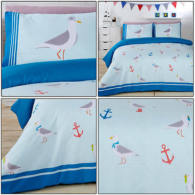 Seagulls Birds Nautical Anchor Sea Printed Duvet Quilt Cover Set Bedding Set • 13.99£