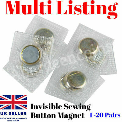 1-20 Pair Invisible Hidden Sewing Magnetic Button Stitch Snap Fastener Purse Bag • 3.25£