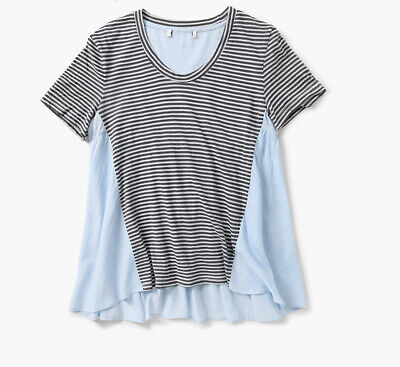 $ CDN12.61 • Buy New Anthropologie Striped Flare Short Sleeve Tee Tshirt Linen Blue Top Sz S M