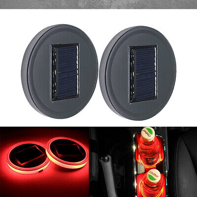 2pc Solar Cup Pad Car Accessories LED Light Cover Interior Decoration Lights RED • 12.49$