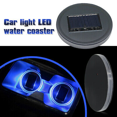 $9.99 • Buy 2x Solar Cup Pad Car Accessories LED Light Cover Interior Decoration Lights Blue
