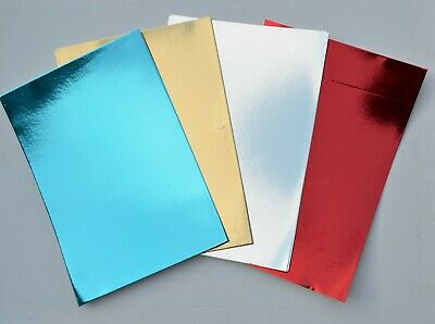 20 X A4 SHEETS GOLD RED GREEN BLUE MIRROR CARD METALLIC SHINY BOARD CRAFT PVO • 4.50£
