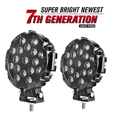 $34.99 • Buy 2X 7inch LED Work Lights 51W  Round LED Driving Bar Fog 4WD SUV Offroad ATV Boat