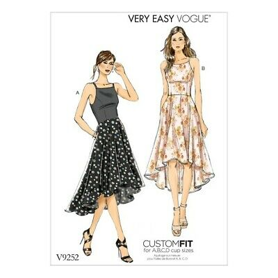Vogue Sewing Pattern V9252 Women's Princess Seam High Low Dresses With Pockets • 17.50£