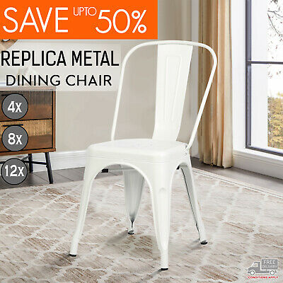AU382 • Buy New Tolix Style Cafe Home Dining Chair White Color