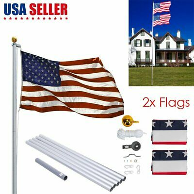 20'/25' Flag Pole Aluminum Telescopic Flagpole Kit U.S Flag Ball Fly 2 Flags • 18.91$
