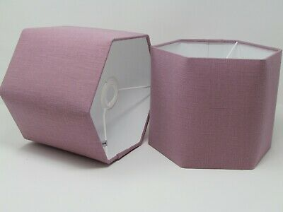 £31.50 • Buy Lampshade Mauve Textured 100% Linen Rounded Hexagon Light Shade