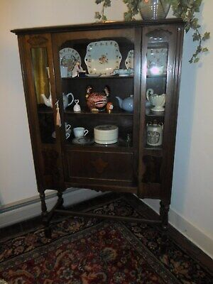 $475 • Buy SMALL ANTIQUE MAHOGANY CHINA CABINET FROM 1920s4 SHELVES DISPLAY YOURTREASURES