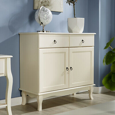 Cream Sideboard 2 Drawer 2 Door Storage Cabinet French Inspired Sculpted Legs • 99.99£