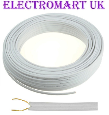 Bell Wire Flat 2 Solid Core Flexible Doorbell Intercom Phone Cable 20m • 4.90£