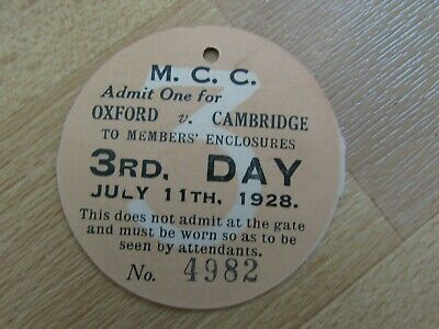 Oxford V Cambridge 1928 Original MCC Annual University Cricket Match Ticket No 3 • 8.99£