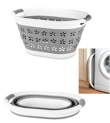Large Collapsible Laundry Basket Washing Clothes Bin Foldable Space Saving New • 10.90£