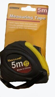 5m Retractable Metal Tape Measure Power Griplock Metric Imperial Measuring 16ft • 2.99£