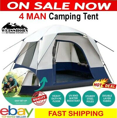 AU99 • Buy Tent Camping Dome 4 Person Man Family Pop Cabin Waterproof Up Canvas Hiking NEW