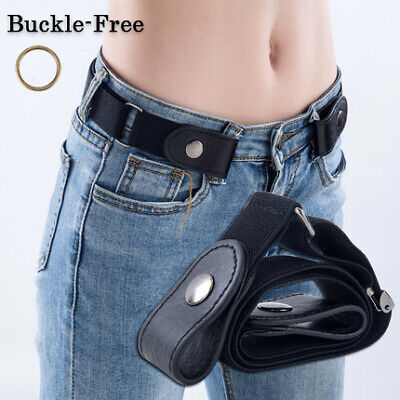 $2.92 • Buy Buckle-Free Elastic Belts Womens Mens Invisible Belt Waist For Jeans Adjustable