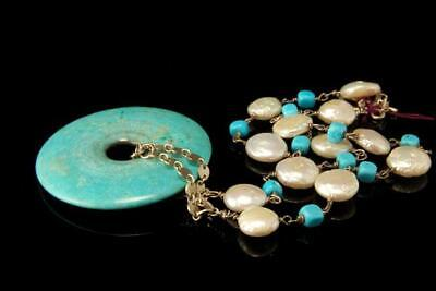 $225 • Buy Vintage Chinese Turquoise Disc Mabe Pearl Silver Sterling Necklace D115-1b