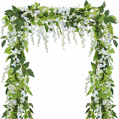£7.99 • Buy 2Pcs Artificial Wisteria Vine 7FT Garland Plant Foliage Outdoor Trailing Flowers
