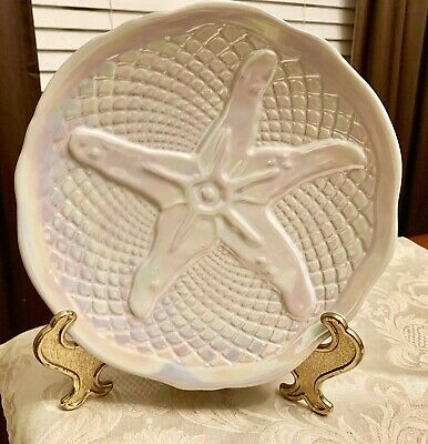 "$12.76 • Buy Roscher & Co Nautilus Collection Starfish 9"" Salad / Dessert Plate Opalescent"