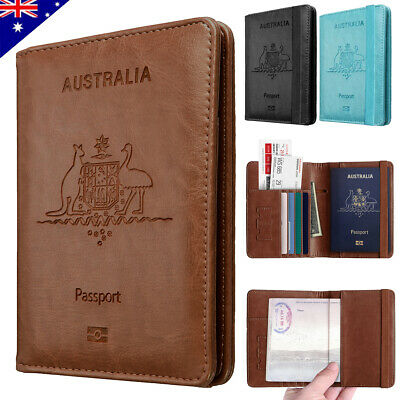 AU12.89 • Buy Travel Passport ID Card Wallet Holder Cover RFID Blocking Leather Purse Case AU
