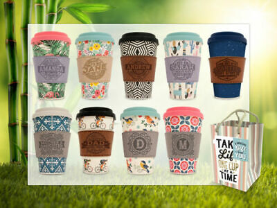 Reusable Bamboo Coffee Cups Eco Friendly Thermal Insulated Travel Mug Lid • 8.54£