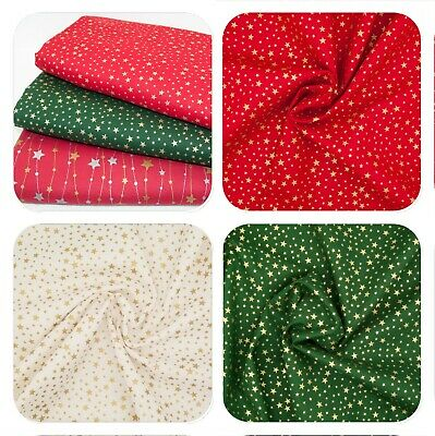 100% Cotton Christmas Fabric METALLIC GOLD SILVER STARS Red Green Ivory Material • 5.95£