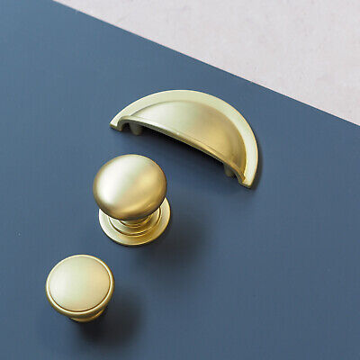 Brushed Brass Cup Handle And Knob  | For Furniture, Kitchens, Cabinets | • 1.60£