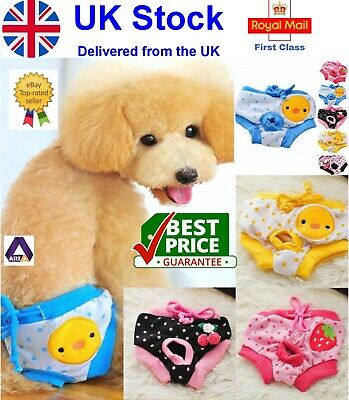UK Female Pet Dog Pants Bitch Heat In Season Menstrual Sanitary Nappy Diaper SXL • 4.99£