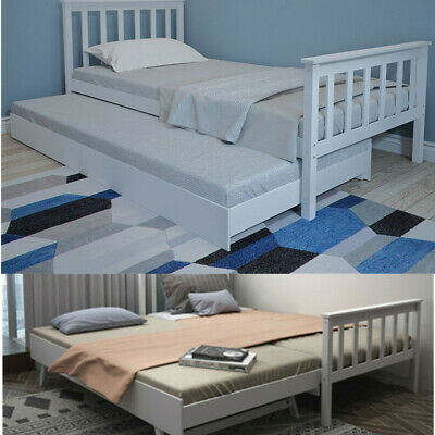 3FT Single Guest Bed Day Bed Frame &Trundle With Underbed Wooden White Grey UK • 51.99£