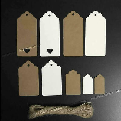 100 Scallop Rectangular Kraft Gift Tags Paper Card Label Luggage + Free Strings • 3.99£