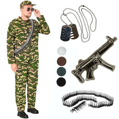 Army Man Fancy Dress Outfit Mens Camo Soldier Costume Adults Military Uniform • 15.99£