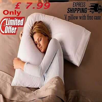 V Shaped Pillow With Case Extra Filled Support For Pregnancy Maternity Nursing • 7.99£
