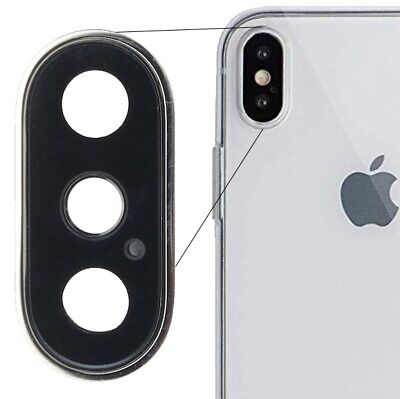 £3.99 • Buy For IPhone XS Max Rear Back Dual Camera Lens Metal Frame Replacement Part Silver