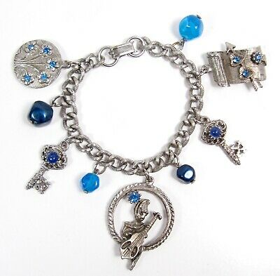 $ CDN37.60 • Buy Blue Rhinestone Silver Tone Rockabilly Stand Up Bass Charm Bracelet Vintage Vtg