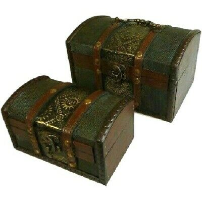 £15.34 • Buy Set Of 2 Rustic Wooden Colonial Style Trunk Treasure Chests Vintage Storage Box