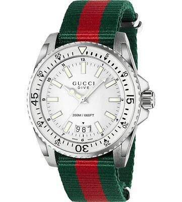 AU930.03 • Buy Gucci Men's YA136207 'Dive' Green And Red Nylon Watch
