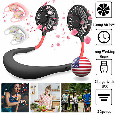 AU18.46 • Buy Portable Dual Cooling Sports Fan USB Rechargeable Neckband Lazy Neck Hanging Fan