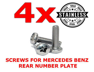 £4.99 • Buy 4 X MERCEDES STAINLESS STEEL REAR NUMBER PLATE SCREWS BOLTS - A B C E S CLASS