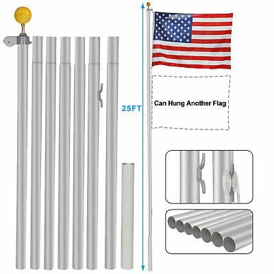 Aluminum 25Ft Sectional Flagpole Kit Outdoor Gold Ball Free US America Flag • 39.47$