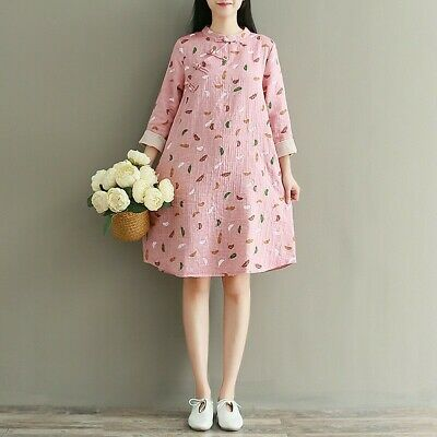 AU26.35 • Buy Women Pink Linen Cotton Long Sleeve Midi Dress Frog Button Chinese Cheongsam New